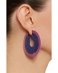 Arunashi - Blue One-of-a-kind Lapis Disc Hoop Earrings - Lyst