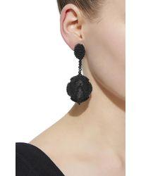 Oscar de la Renta - Black Chevron Beaded Drop Earring - Lyst