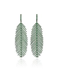 Sidney Garber - Green 18k Feathers That Move Tsavorite Earrings - Lyst