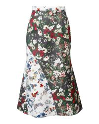Anouki - Green Multicolor Flower Print Godet Skirt - Lyst