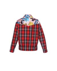 MSGM - Red Floral Plaid Jacket - Lyst
