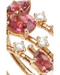 Mattia Cielo - Diamond And Pink Tourmaline Wrap Ring - Lyst