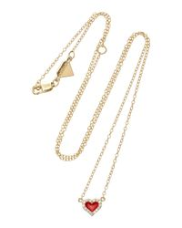 Alison Lou - Red 14k Gold Diamond Heart Necklace - Lyst