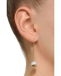 Mizuki - Metallic 14k Straight Fluid Bar Earrings On Pearl - Lyst