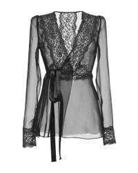 Dolce & Gabbana | Black Silk Blend Chiffon Lace Wrap Blouse | Lyst