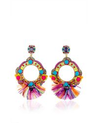 Ranjana Khan | Multicolor Fringe Embellished Circle Earrings | Lyst