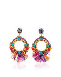 Ranjana Khan | Multicolor Fringe Embellished Circle Earrings | Lyst