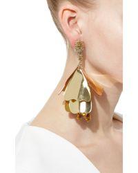 Oscar de la Renta   Metallic Flower Petal Drop Earrings   Lyst