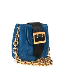 Burberry - Blue Calf Suede Square Bag - Lyst
