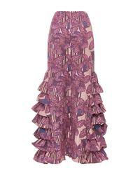 Kika Vargas - Purple Ruffle Embellished Flared Long Skirt - Lyst
