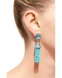 Oscar de la Renta - Blue Beaded Tassel Earrings - Lyst