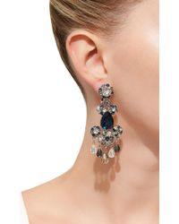 Oscar de la Renta - Black Crystal Flower Earrings - Lyst