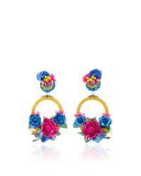 Ranjana Khan | Blue Multi Large Floral Drop Earrings | Lyst