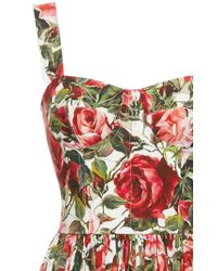 Dolce & Gabbana - Red Rose-print Ruffled Midi Dress - Lyst