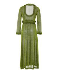 ALEXACHUNG - Green Ruffled Jersey Dress - Lyst