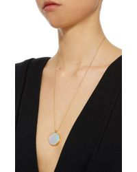 Noor Fares - Khaalee Large Rock Crystal Quartz Amulet In Yellow Gold And White Synthetic Opal Backing - Lyst