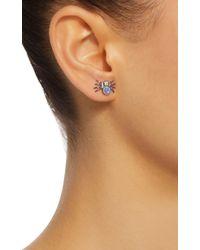 Colette - Blue Spider 18k Black Gold, Moonstone And Diamond Earrings - Lyst