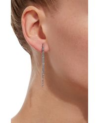 AS29 - Black 2 Lines White Diamond Earrings - Lyst