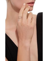 Diane Kordas - Triple Diamond Curved Band Ring With Green Prasiolite Drop - Lyst