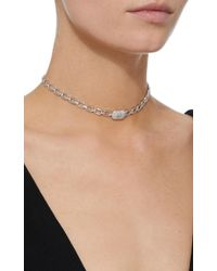 SHAY - White Essential Pave Baguette Square Link Choker - Lyst