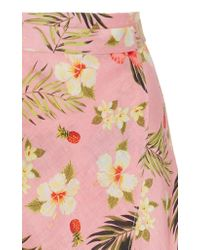 Miguelina - Pink Hibiscus Printed Asymmetric Wrap Skirt - Lyst