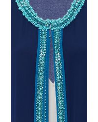 Oscar de la Renta - Blue Silk Maxi Cardigan With Crystal Embellishment - Lyst