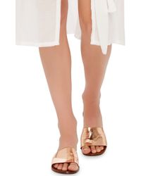 Avec Moderation - Metallic Calf Leather Slip On Sandals - Lyst