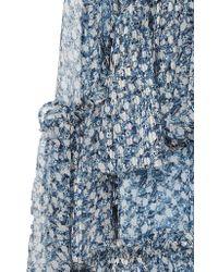 Ulla Johnson Blue Maria Floral Silk-chiffon Midi Skirt
