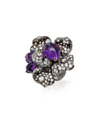Anabela Chan - Purple Blossom 18k Black And Yellow Gold Vermeil Amethyst Blossom Ring - Lyst
