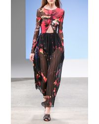 Thakoon - Black Speckled Tie-dye Chiffon Long Sleeve Gown - Lyst