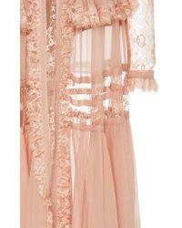 Elie Saab - Pink Crepe Georgette Long Sleeve Dress - Lyst