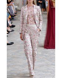 Luisa Beccaria - Pink Linen Embroidered Blazer - Lyst