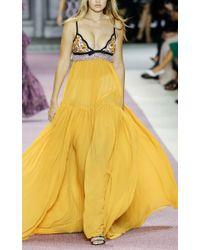 Giambattista Valli - Yellow Georgette And Macramé Gown - Lyst