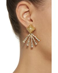 Nicole Romano - Metallic 18k Gold-plated Scalloped Crystal Earrings - Lyst