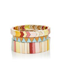 Roxanne Assoulin - Pink Set Of Three Enamel And Gold-tone Bracelets - Lyst