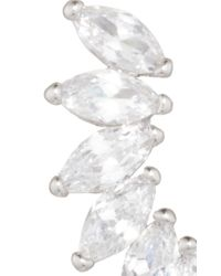 Fallon - Metallic Rhodium Plated Cubic Zirconia Marquis Wing Climber Earrings - Lyst