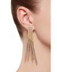 Joanna Laura Constantine - Blue Criss-cross Rainbow Gold-plated Brass And Cubic Zirconia Statement Earrings - Lyst