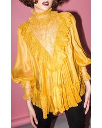 Maria Lucia Hohan - Yellow Eloise Mousseline Blouse - Lyst