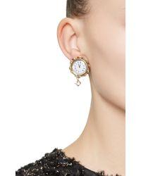 Dolce & Gabbana - Metallic Clock Strikes Midnight Chandelier Earrings - Lyst
