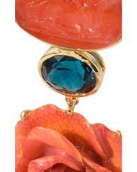 Bahina - Blue 18k Yellow Gold Coral Venetian Glass Cameos Earrings - Lyst