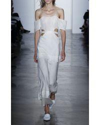 Wes Gordon - White Chiffon And Gauze Long Dress - Lyst