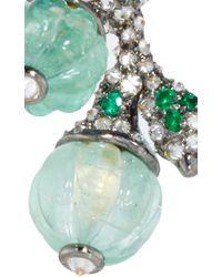 Arunashi - Metallic 18k Blackened Gold Emerald And Diamond Earrings - Lyst