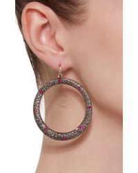 Sanjay Kasliwal - Red Ruby And Diamond Pave Hoops - Lyst