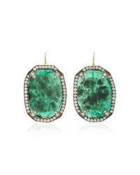 Sylva & Cie - Green Emerald Slice Thorn Earrings With Diamonds - Lyst