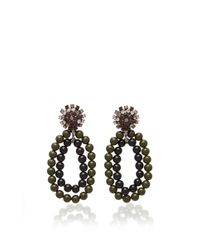 Marni - Green And Black Earrings With Strass - Lyst