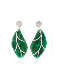 Nina Runsdorf | Green 18karat White Gold Emerald and Diamond Earrings | Lyst