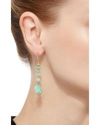 Pamela Huizenga - Blue Opal Nuggets, Round Diamond Beads And Opal Roundells Earrrings - Lyst