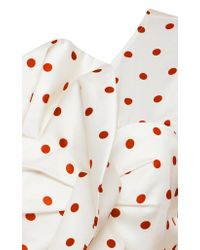 Self-Portrait - White Asymmetric Satin Polka Dot Frill Top - Lyst