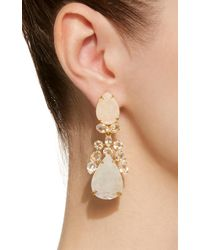 Bounkit - Pink Moonstone, Lapis, And Clear Quartz 14k Gold-plated Brass Drop Earrings - Lyst