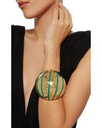 Aurelie Bidermann - Metallic Maria Cuff With Green Enamel - Lyst
